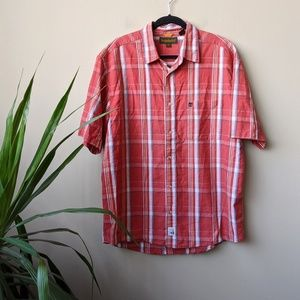 Timberland Plaid Short Sleeve Button Down Shirt XL